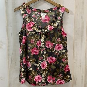 Ann Taylor LOFT Brown Pink Floral Top Ruffle Med
